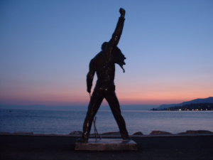 Freddie Mercury Statue overlooking Lake Geneva in Montreaux, Switzerland
